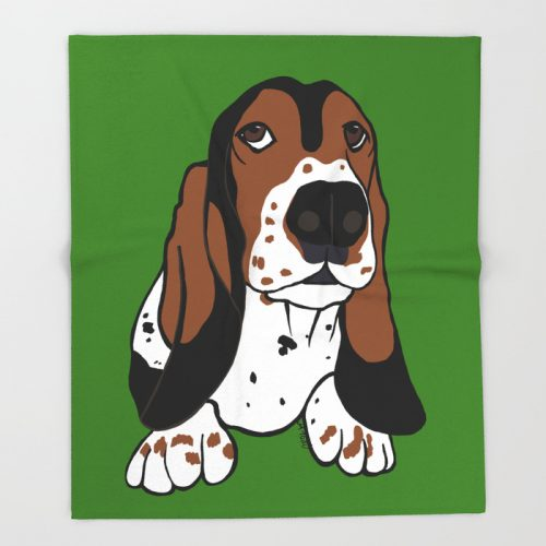 A Dog Mom and Her Basset Hound Throw Blanket by Mel's Doodle Designs