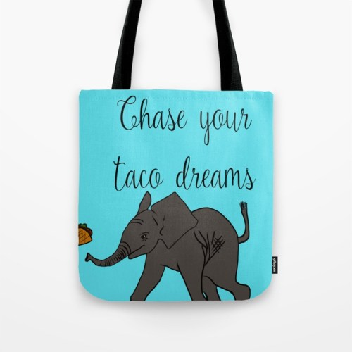 Baby Elephant Chase Your Taco Dreams Tote Bag  by Mel's Doodle Designs
