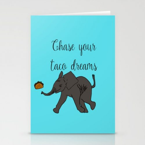 Baby Elephant Chase Your Taco Dreams! Greeting Cards