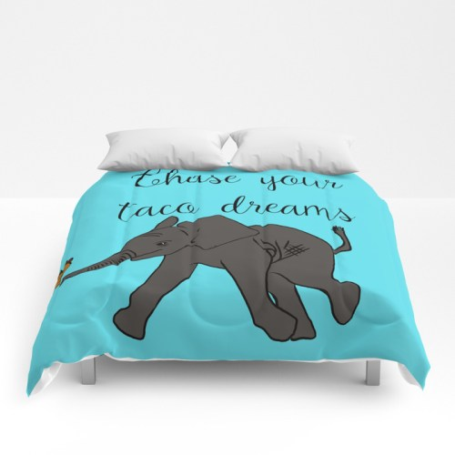 Baby Elephant Chase Your Taco Dreams Comforter  by Mel's Doodle Designs