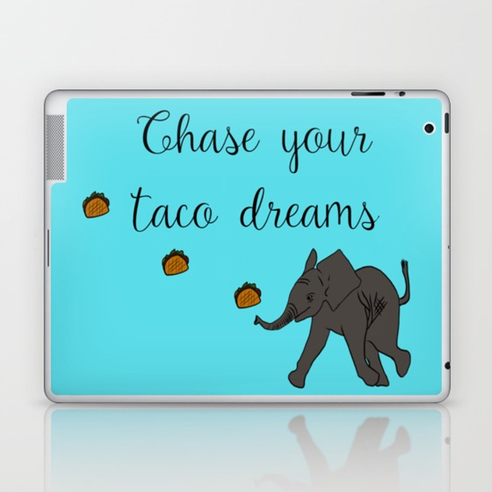 Baby Elephant Chase Your Taco Dreams Laptop Skin by Mel's Doodle Designs