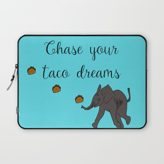 Baby Elephant Chase Your Taco Dreams Laptop Sleeve by Mel's Doodle Designs