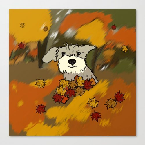 Buck The Schnauzer In Fall Leaves by Melinda Todd Canvas Print