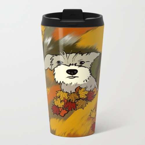 Buck The Schnauzer In Fall Leaves Travel Mug
