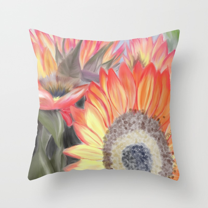 Fall Sunflowers Throw Pillow