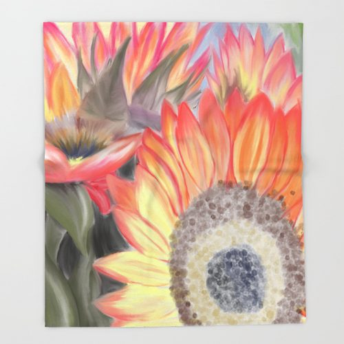 Fall Sunflowers Throw Blanket