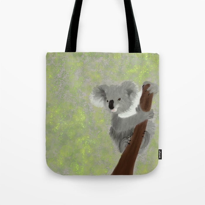 Koala Bear Hanging In There Tote Bag by Mel's Doodle Designs