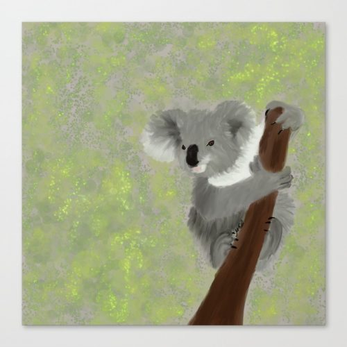 Koala Bear Hanging In There Canvas Art Print by Mel's Doodle Designs