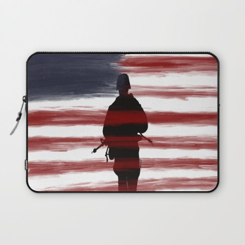Soldier and Flag - Patriotic Laptop Sleeve by Mel's Doodle Designs