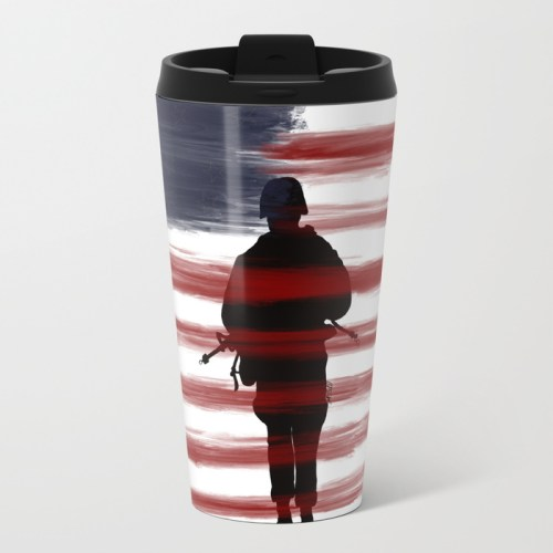 Soldier and Flag - Patriotic Travel Mug by Mel's Doodle Designs