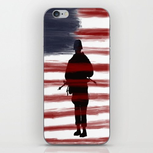 Soldier and Flag - Patriotic Carry All Pouch by Mel's Doodle Designs
