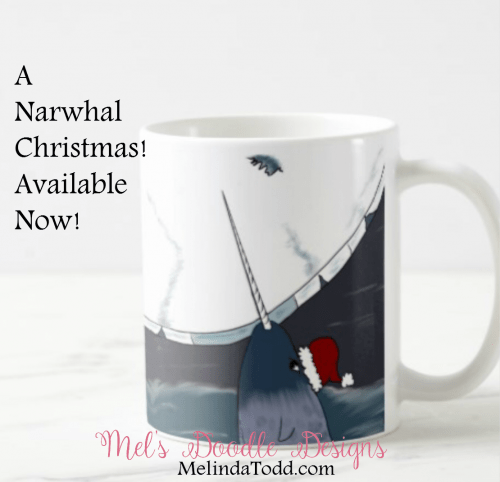 A Narwhal Christmas Coffee Mug by Mel's Doodle Designs