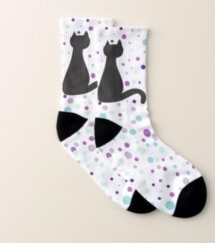 Black Cat Polka Dot Party Socks by Mel's Doodle Designs