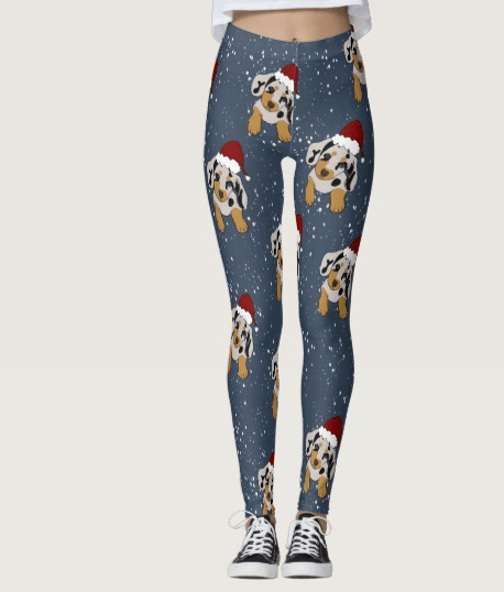 Doxie Through The Snow Christmas Leggings by Mel's Doodle Designs