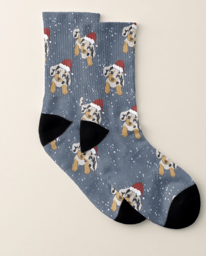 Doxie Through The Snow Holiday Socks by Mel's Doodle Designs