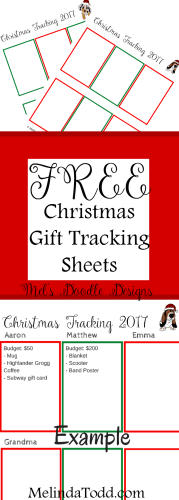 Free Christmas Gift Tracking Sheets From Mel's Doodle Designs