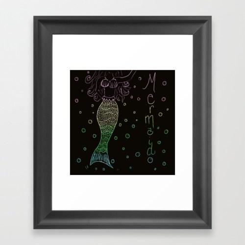 Mermaid In The Dark Framed Art Print by Mel's Doodle Designs