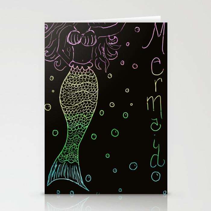 Mermaid In The Dark Greeting Cards by Mel's Doodle Designs