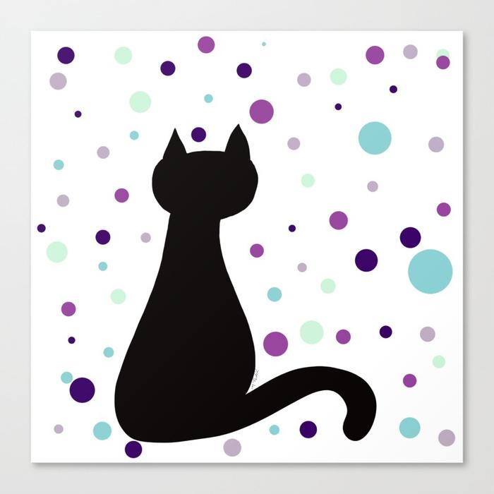 Black Cat Party Canvas Print by Mel's Doodle Designs