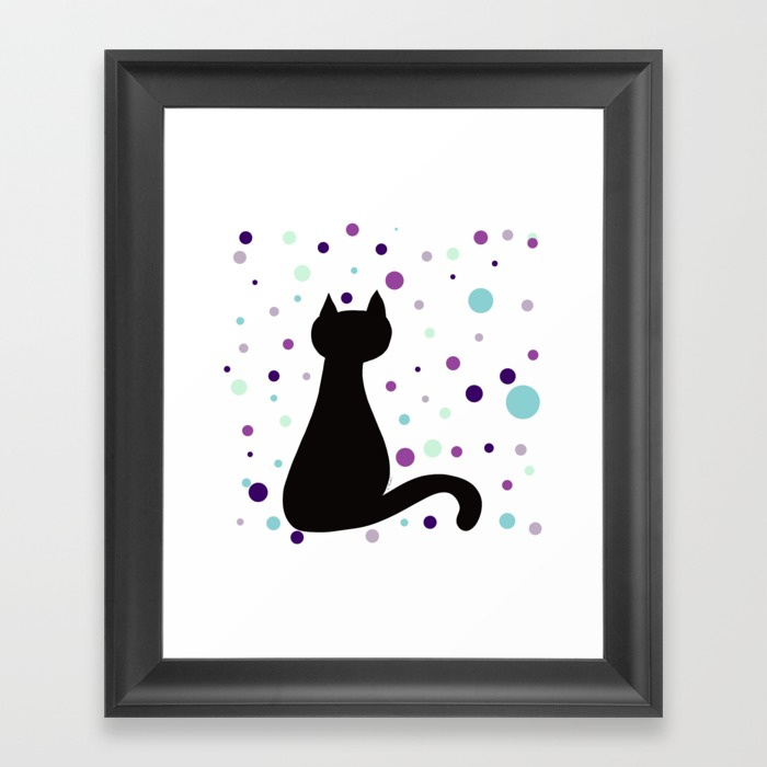 Black Cat Party Framed Print by Mel's Doodle Designs