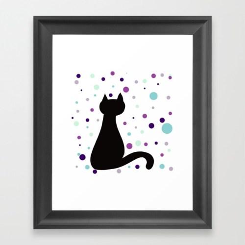 Black Cat Party Framed Print  by Mel's Doodle Designs