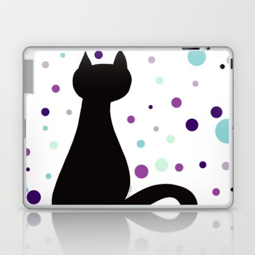 Black Cat Party Laptop Skin  by Mel's Doodle Designs