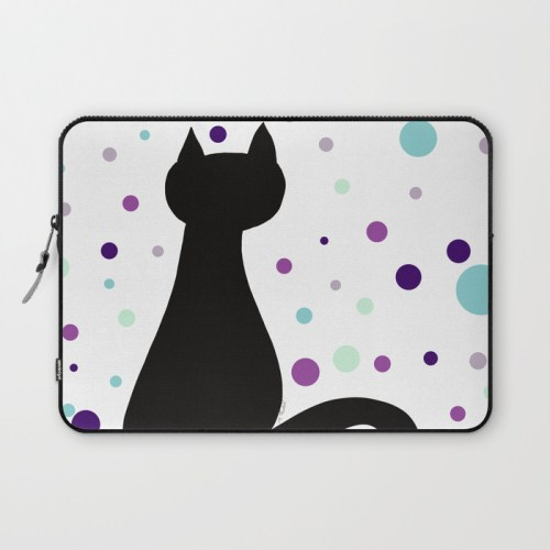 Black Cat Party Laptop Sleeve  by Mel's Doodle Designs