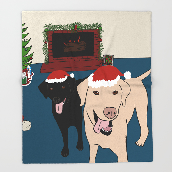 Labs Love Christmas Throw Blankets by Mel's Doodle Designs