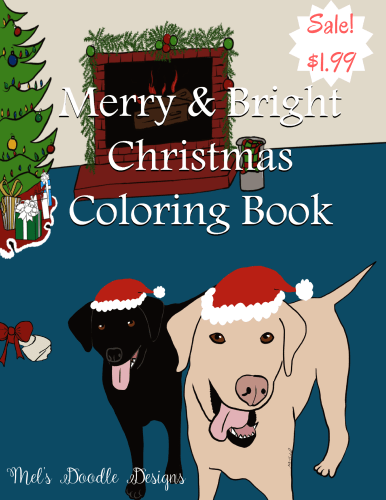Merry & Bright Christmas Coloring Book by Mel's Doodle Designs