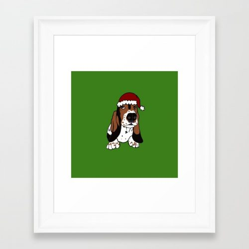 A Basset Full of Christmas Framed Art Print by Mel's Doodle Designs
