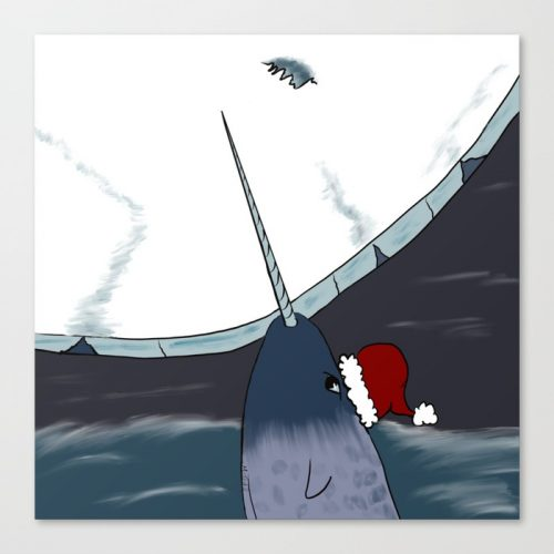 A Narwhal Christmas Canvas Art Print by Mel's Doodle Designs
