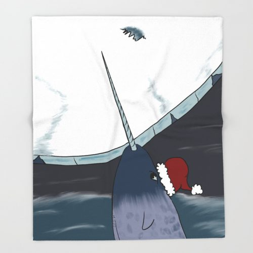 A Narwhal Christmas Throw Blanket by Mel's Doodle Designs
