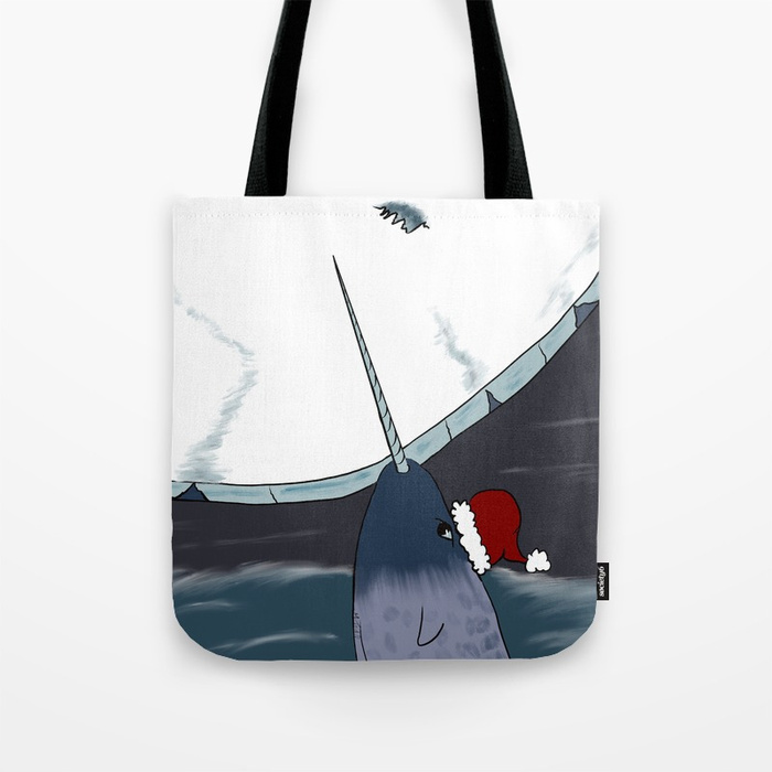A Narwhal Christmas Tote Bag by Mel's Doodle Designs