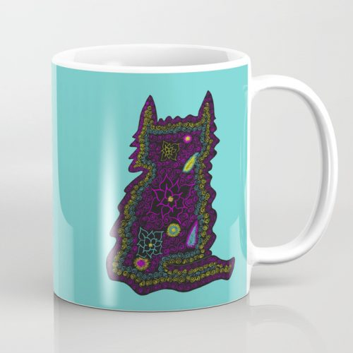 Black Cat With Roses Coffee Mug by Mel's Doodle Designs