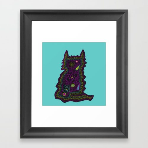 Black Cat With Roses Framed Art Print by Mel's Doodle Designs