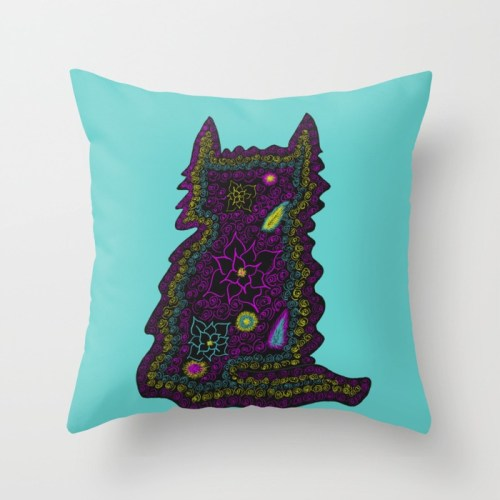 Black Cat With Roses Throw Pillow by Mel's Doodle Designs