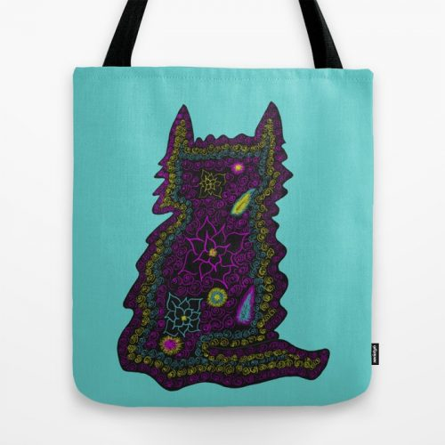Black Cat With Roses Tote Bag by Mel's Doodle Designs
