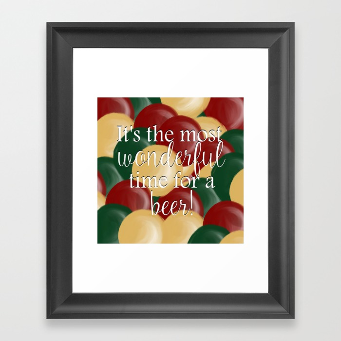 It's The Most Wonderful Time For a Beer Framed Art Print by Mel's Doodle Designs