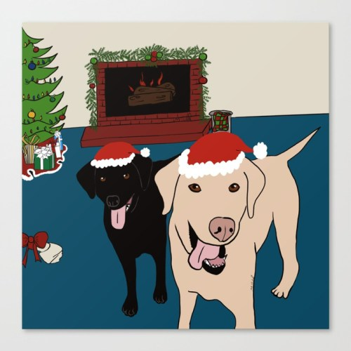 Labs Love Christmas Canvas Art Print by Mel's Doodle Designs