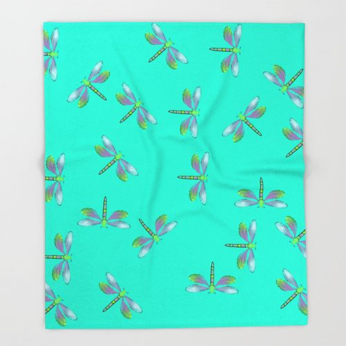 Adaptable Dragonflies in Aqua Throw Blanket by Mel's Doodle Designs