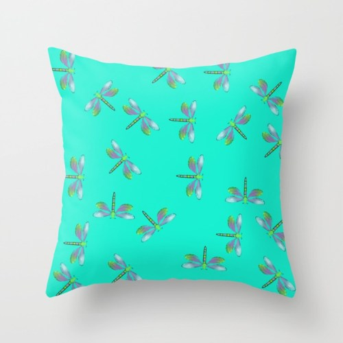 Adaptable Dragonflies in Aqua Throw Pillow by Mel's Doodle Designs
