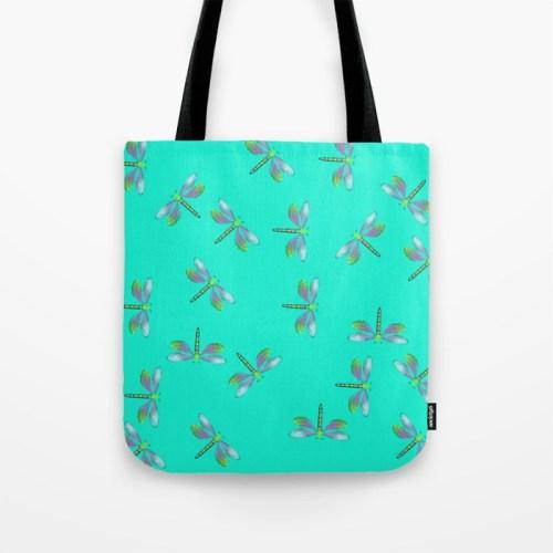Adaptable Dragonflies in Aqua Tote Bag by Mel's Doodle Designs