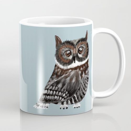 Adorable Owl In Blue Coffee Mug by Mel's Doodle Designs
