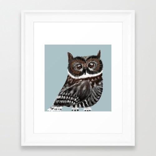 Adorable Owl in Blue Framed Art Print by Mel's Doodle Designs