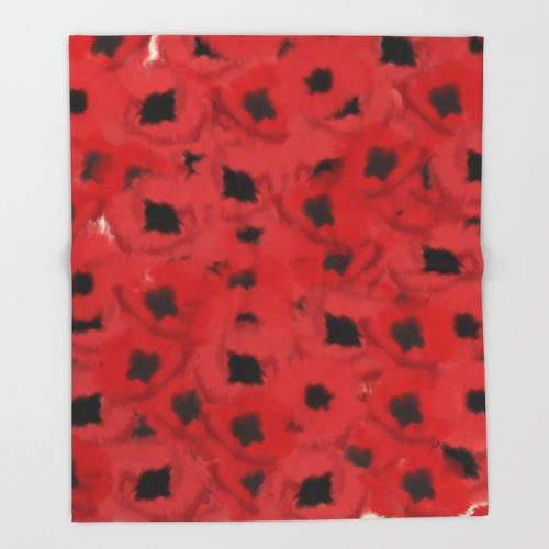 Field of Poppies In Summer Throw Blanket by Mel's Doodle Designs