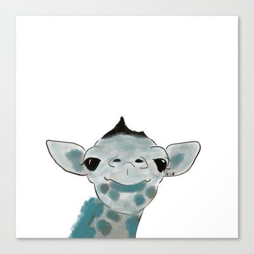 Happy Baby Giraffe Canvas Art Print by Mel's Doodle Designs