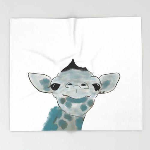 Happy Baby Giraffe Throw Blanket by Mel's Doodle Designs