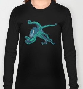 Tropical Flower Octopus Sweatshirt by Mel's Doodle Designs