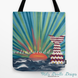 Floral Mermaid With Ocean Sunset Tote Bag for Back To School by Mel's Doodle Designs
