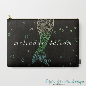 Mermaid In The Dark Carry All Bag for Back to School by Mel's Doodle Designs